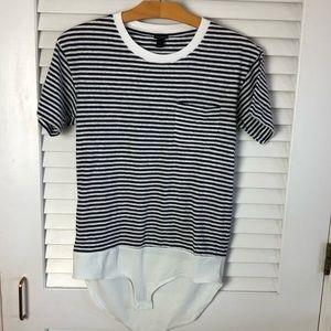 Jcrew Striped Bodysuit Pocket T-shirt